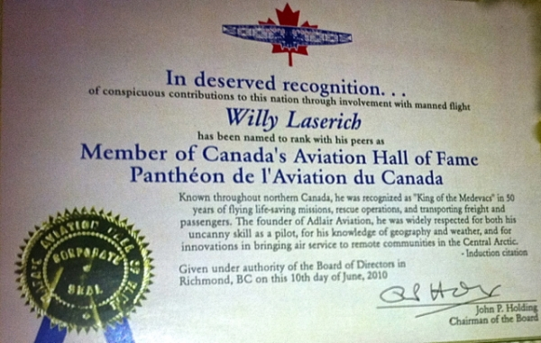 Canadian Aviation Hall of Fame Certificate